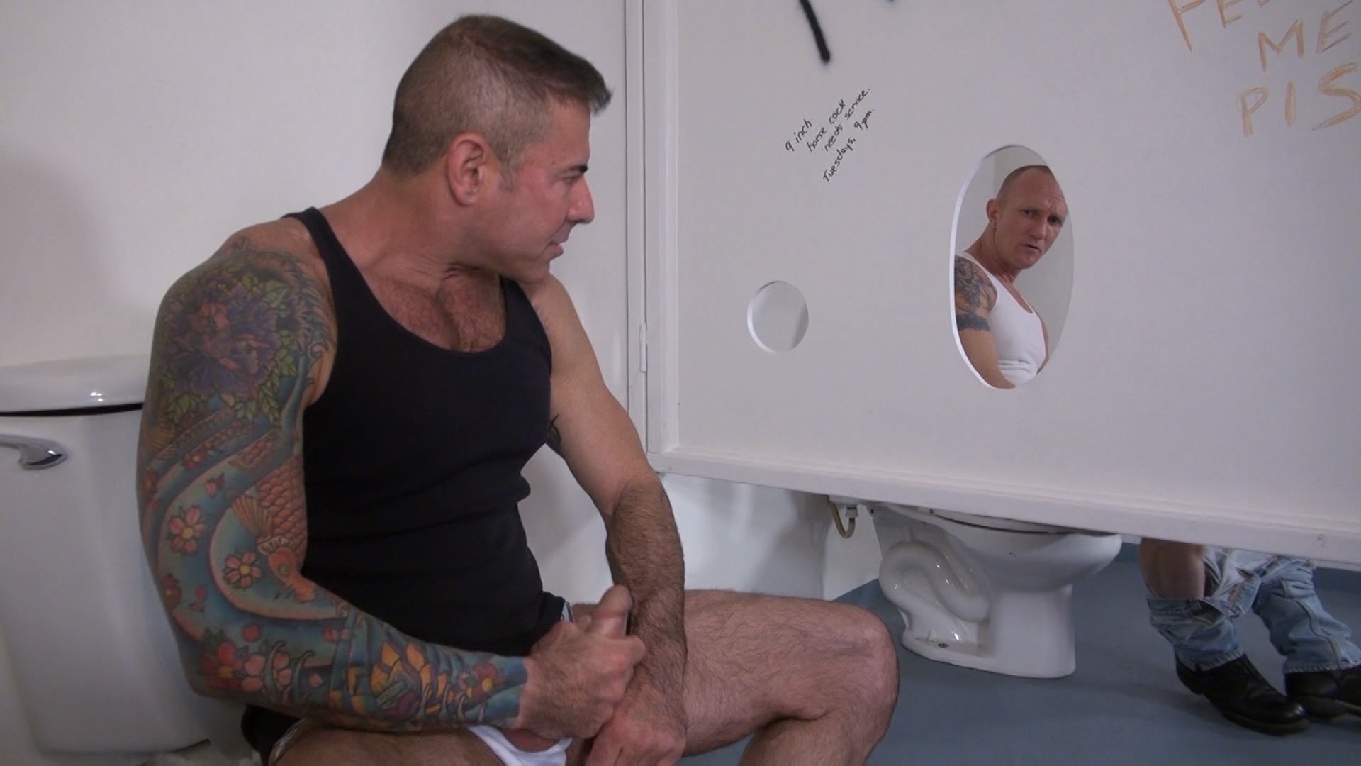 Raw-and-Rough-Jason-Mitchell-Mason-Garet-Nick-Moretti-and-Cope-Truck-Stop-Sex-Piss-play-04 Piss And Cock Play In A Truck Stop Bathroom With Four Truckers