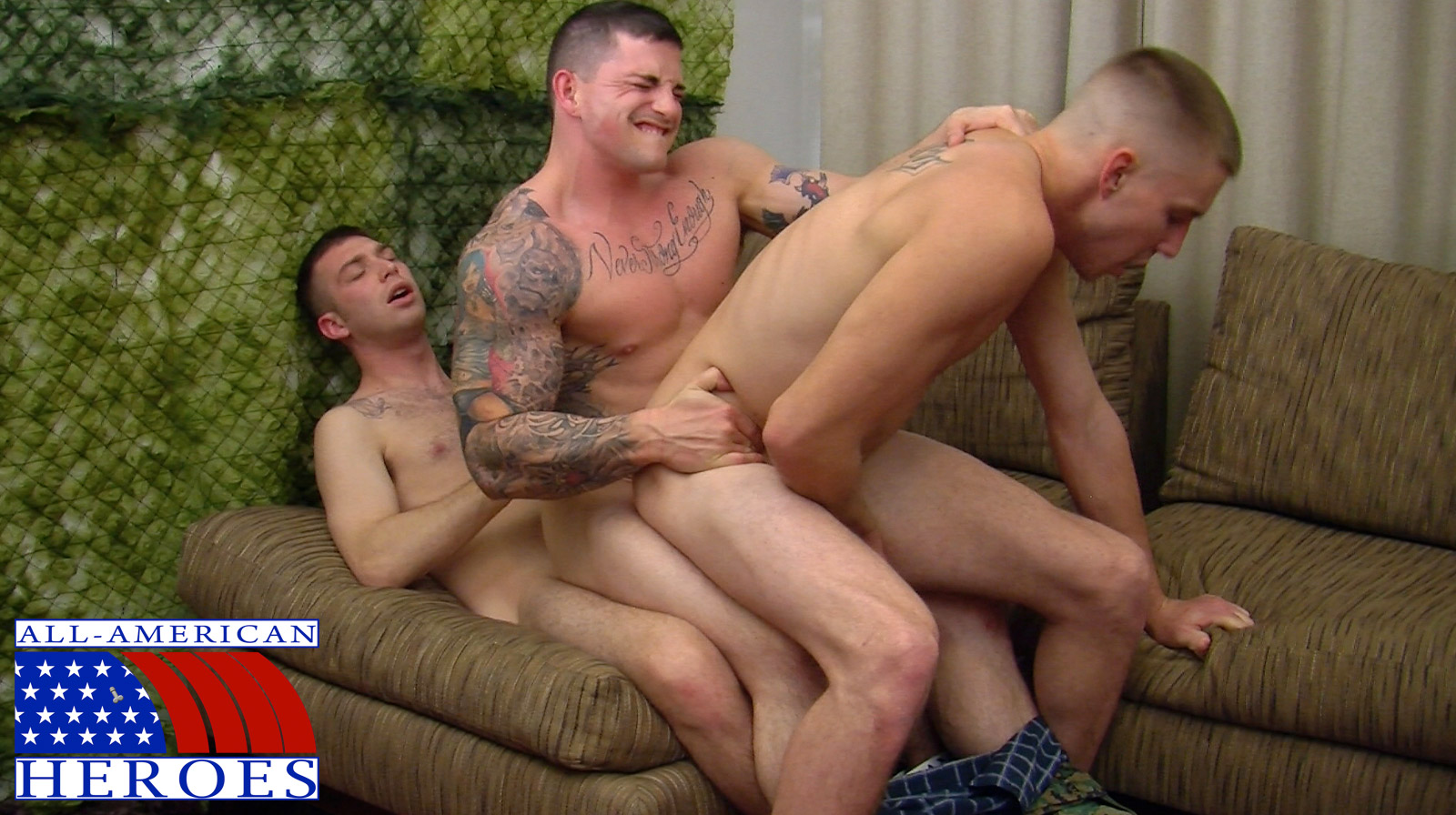 All-American-Heroes-Sergeant-Slate-Triple-fucking-big-cocks-Army-guys-Amateur-Gay-Porn-11 Two Real Army Privates Fuck Their Muscle Sergeant and Cum In His Mouth