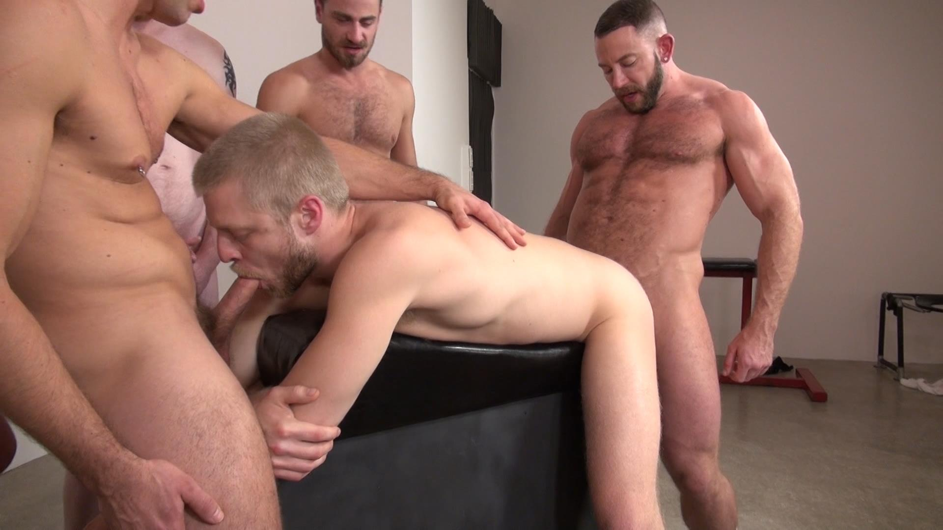 Raw-and-Rough-Bareback-Gay-Sex-Orgy-Amateur-Gay-Porn-09 Six Hairy Hung Guys Pounding A Bottom At A Bareback Sex Party